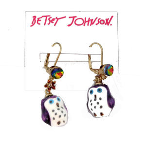 BETSEY JOHNSON PURPLE OWL EARRINGS